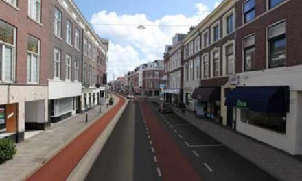 Fietser wint, auto levert in op nieuwe Laan van Meerdervoort