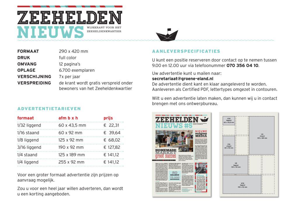 Advertenties Prijslijst Zeeheldennieuws 2016