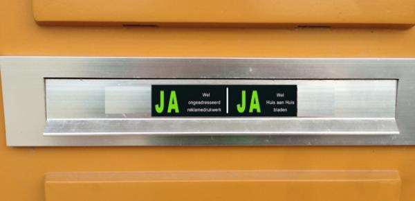 ja ja sticker postbezorging