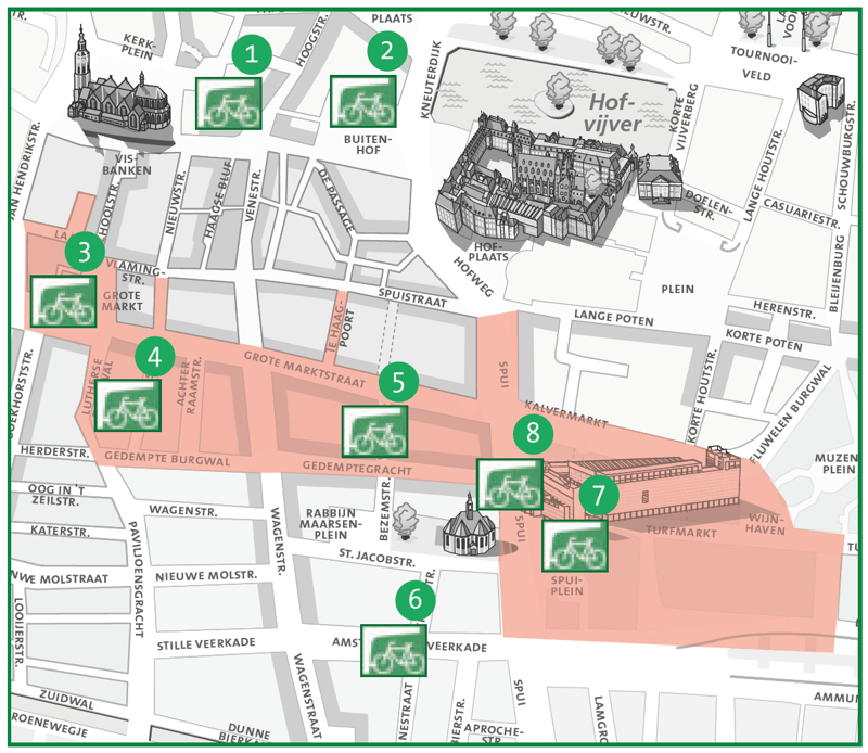 Kaartje stallingen fietsparkeergebied