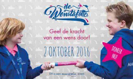 Make-A-Wish Nederland organiseert op 2 oktober 2016 de Wenstafette