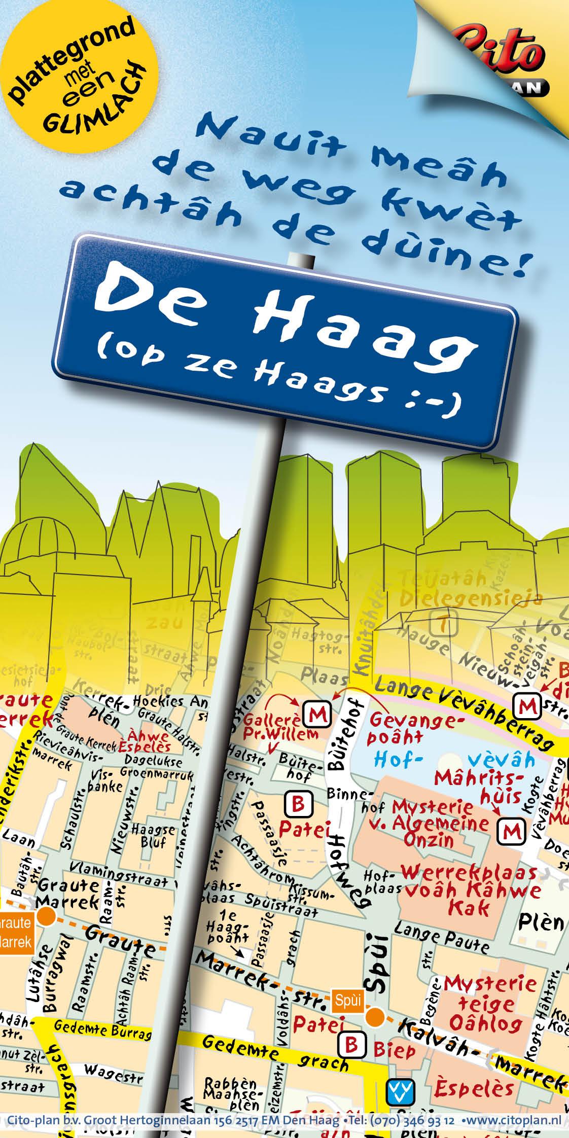 Kaart den Haag in Haags dialect