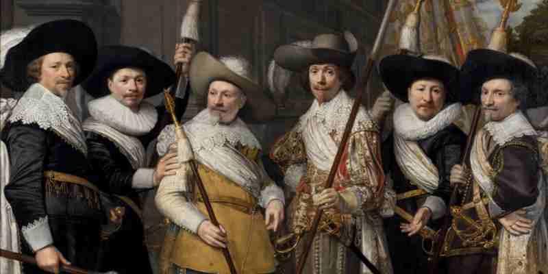 Jan van Ravesteyn, de Officieren van het Witte Vendel der Haagse Schutterij, 1633. Collectie Haags Historisch Museum